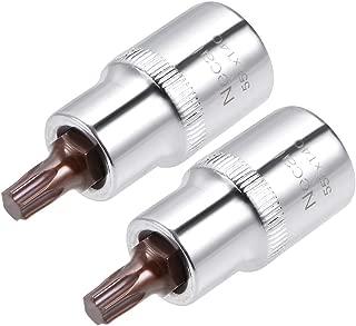 uxcell 1/2-Inch Drive T40 Torx Bit Socket S2 Steel 55mm Length 2 Pcs