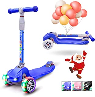 XJD Kick Scooter for Kids 3 Wheel Scooter for Girls Boys Toddler Scooter 4 Adjustable Height Lean to Steer with PU Flashing Wheels for Children from 3 to 12 Years Old