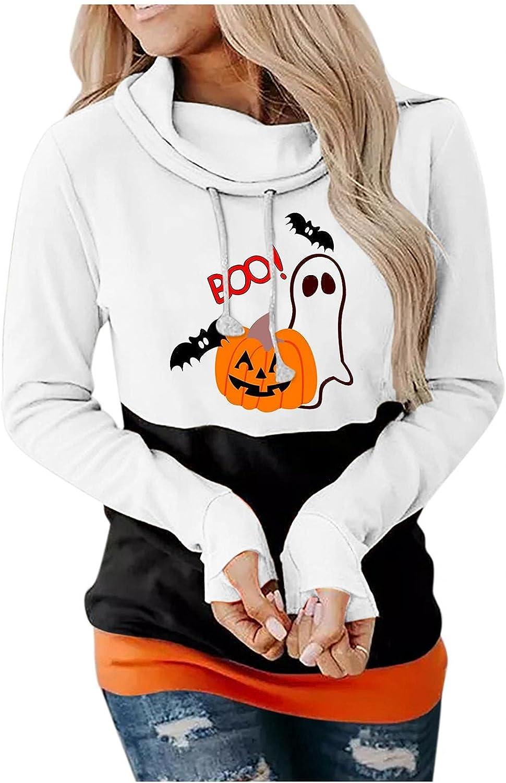 Halloween Hoodies for Women Halloween Pumpkin Face Long Sleeve Hooded Casual Splicing Pullover Top