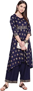 Khushal K Women's Rayon Printed Kurta With Palazzo Set