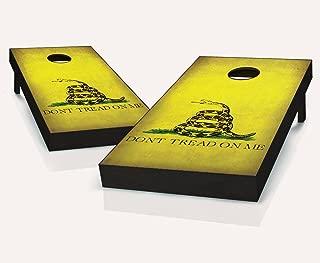 Distressed Gadsden Dont Tread On Me Flag Cornhole Boards Regulation Size Game Set Baggo Bean Bag Toss + 8 ACA Regulation Bags