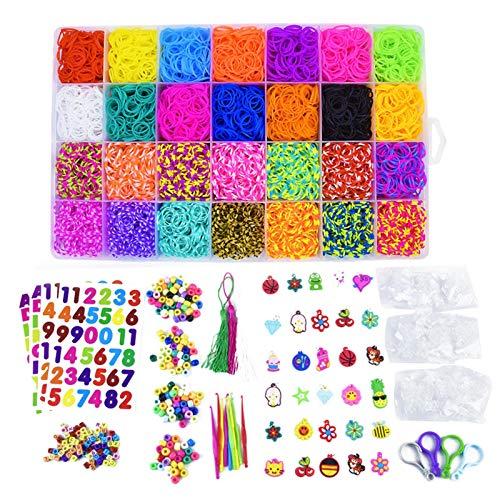 Kit de manualidades para tejer – Kit de bandas elásticas de goma – Kit de fabricación para niños – Bandas elásticas Loom – Pulsera anillos, collares DIY a mano con perlas y herramientas pulseras