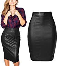 Faux Leather Pencil Skirt - US Size 2-12 Stretchy Elegant Pu Coated Denim Bodycon Midi Skirts