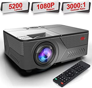 Pansonite Projector 5200 Lumens Movie Projector for iPhone Support 1080P and 30,000 Hour Lamp Life and Max.200'' Display,Compatible with HDMI/VGA/AV/USB(Black)