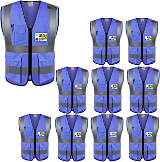 High Visibility Safety Vests 10 Packs,Wholesale Reflective Vests with Multi Pockets for Outdoor Works, Cycling, Jogging, Walking,Sports - Fits for Men and Women (10 Pack, Blue)