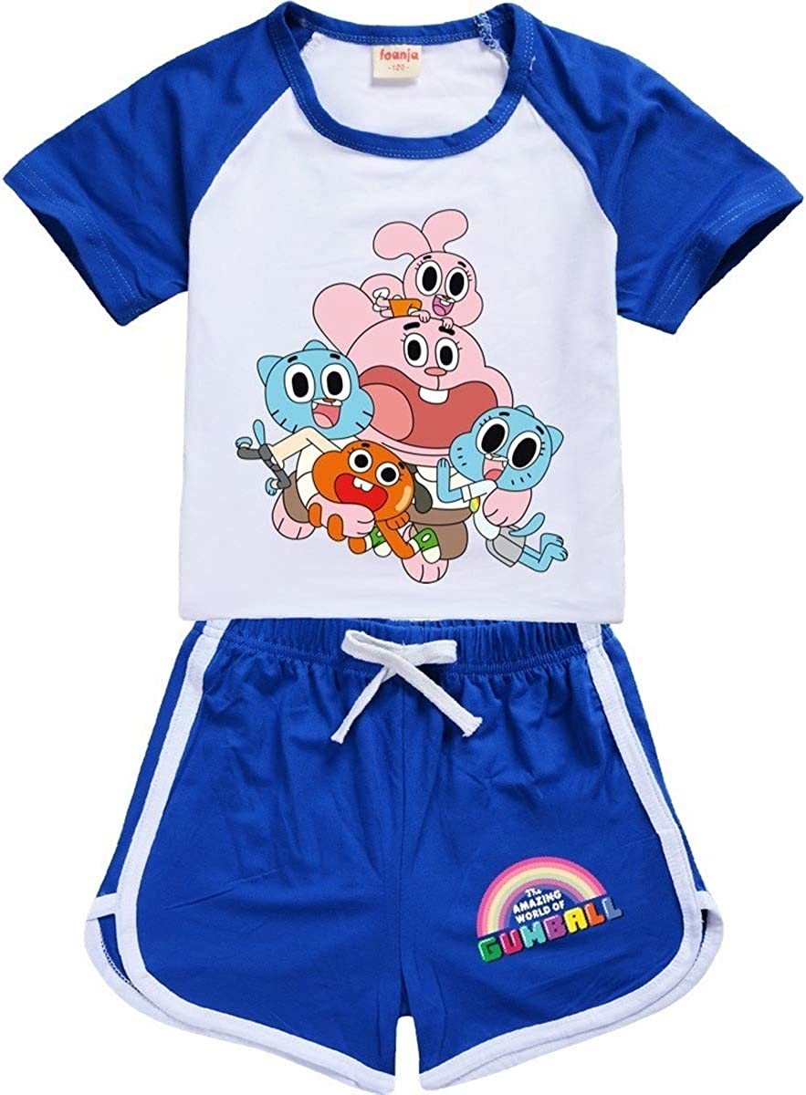 Dgfstm Childrens The Amazing wold of Gumball Cartoon Print Pattern Short-Sleeved Shorts Suit Sweatshirt Suit