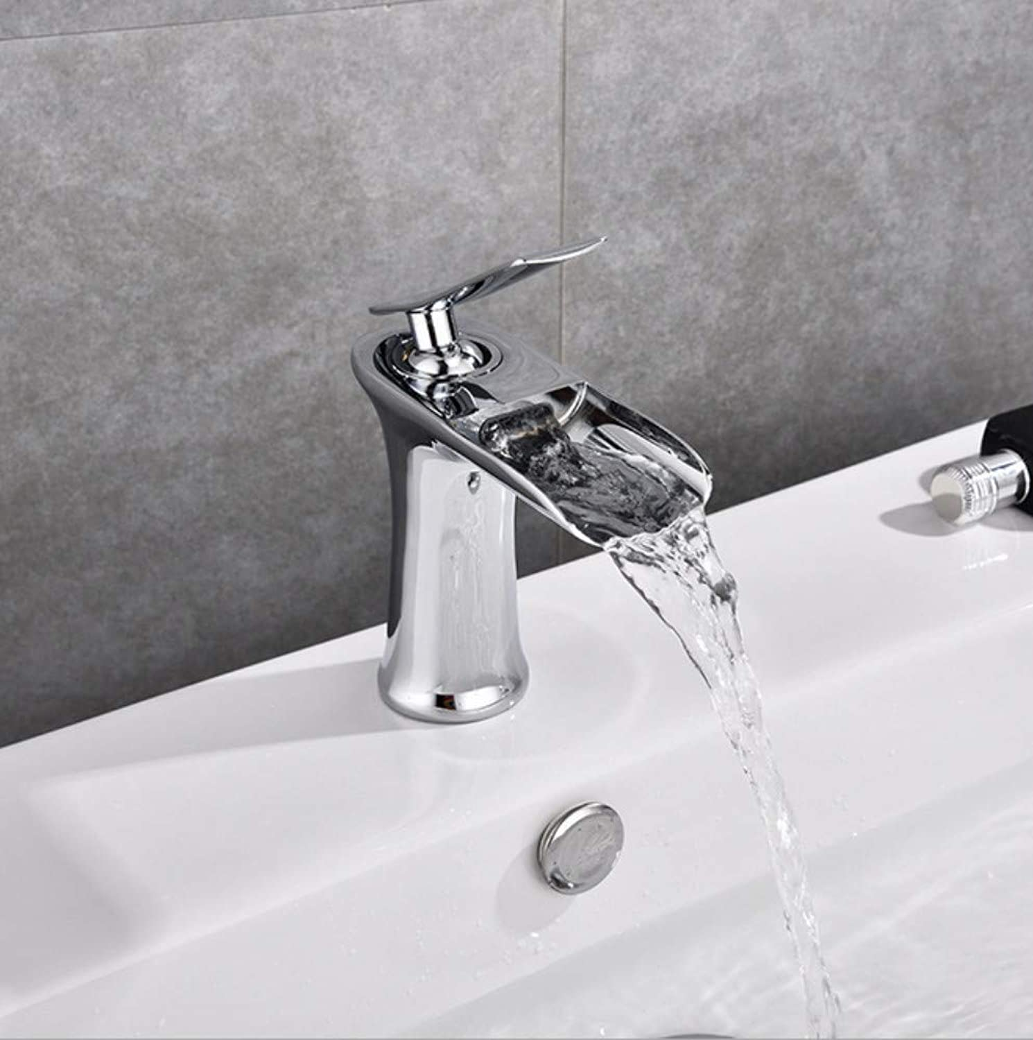 Xiujie Faucet Full Copper Single Hot and Cold Basin Waterfall Faucet On The Faucet