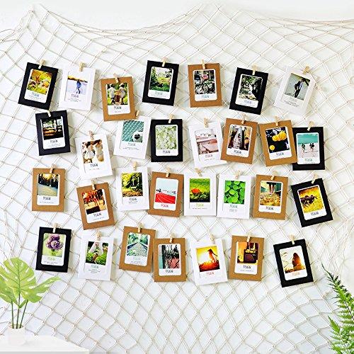 ecooe Foto hängende Wanddekoration Collage DIY Bilderrahmen Wanddekoration, Größe L Fischernetz mit 40 Holzklammern und 10 spurlosen Nägeln Fotoaufhängung