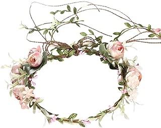 Flower Crown for Women Girls,Adjustable Bridal Flower Garland Headband Hair Wreath Halo for Wedding Festival Party Decoration Pink