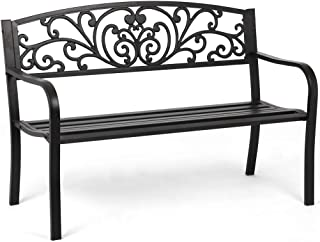 Garden Bench Outdoor Bench Patio Bench Cushions for Outdoors Metal Porch Clearance Work Entryway Steel Frame Furniture for Yard