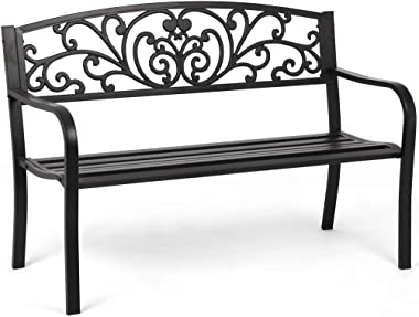 Garden Bench Outdoor Bench Patio Bench Cushions for Outdoors Metal Porch Clearance Work Entryway Steel Frame Furniture for Ya