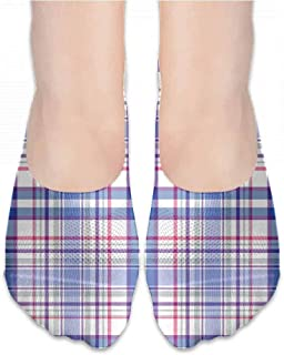 personalized fashion socks Checkered,Country Inspired Old Fashioned Pattern Picnic Theme Light Colors,Violet Blue White Pink,socks women low cut black