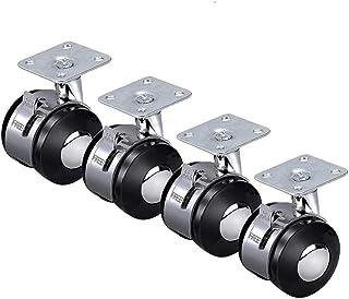 LYQQQQ 4 stks Swivel Castor wiel, 2 In zinklegering montageplaat Castor wielen met rem, bureaustoel Caster vervanging (Kle...