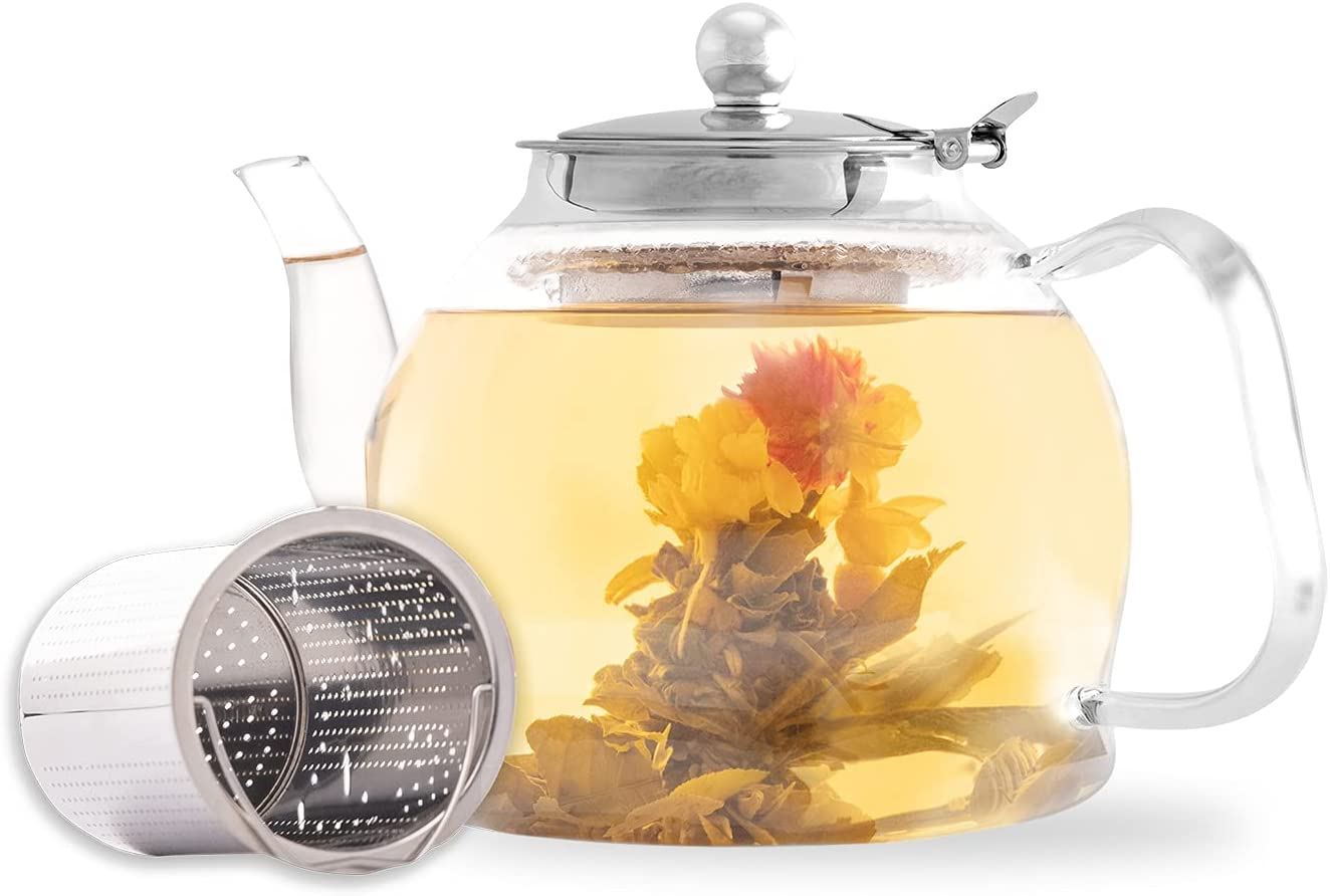 Aserson Max 60% OFF 1200 ml 40 oz Glass Teapot Heat Max 79% OFF Resistant Stainless St