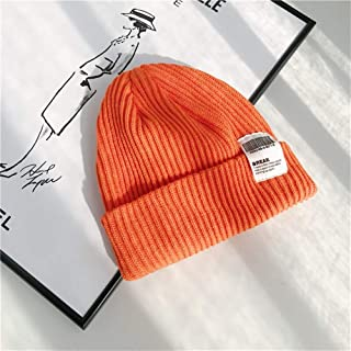 ZiWen Lu Winter hat Korea Institute of bar Code Standard Cloth Fashion Wool hat Female Autumn and Winter Warm Knit Hats Male Couple (Color : Orange, Size : One Size)