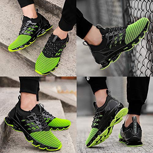 TSIODFO Green Shoes for Men mesh Breathable Comfort Fashion Running Shoes Sport Athletic Walking Sneakers Man Runner Jogging Shoes Casual Tennis Trainers Size 12 4