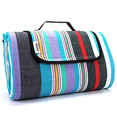 Extra Large Picnic Blanket Waterproof 79  x 79  with Tote, Camping Mat Striped Ground Sheet for Summer Beach Hiking Grass Travel Outdoor Blanket