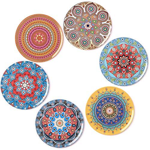 BOHORIA Premium Design Untersetzer 6er Set Dekorative Untersetzer fur Glas, Tassen, Vasen, Kerzen auf ihrem Holz-, Glas- oder Stein- Esstisch Boho Edition,Mandala