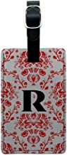 Graphics & More Letter R Initial Damask Elegant Red White Leather Luggage Id Tag Suitcase, Black