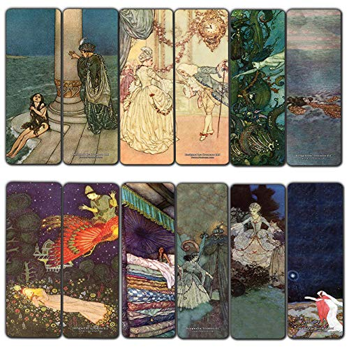 Creanoso Fairy Tales Edmund Dulac Bookmarks (12-Pack) - Awesome Bookmarks for Men, Women, Teens – Six Assorted Bookmarks Designs – Unique Art Impressions Design – Cool Art Paints