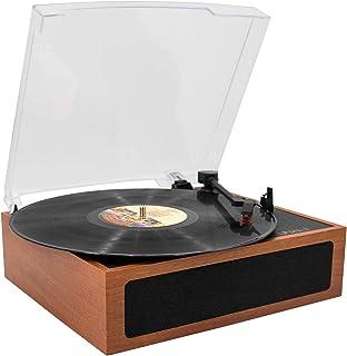 LP&No.1 木製 Bluetooth ヴィンテージ ビニール レコード プレーヤー ステレオ スピーカー付き、 33/45/78回転対応 スピーカー内蔵 RCA音声出力端子 (茶色い)