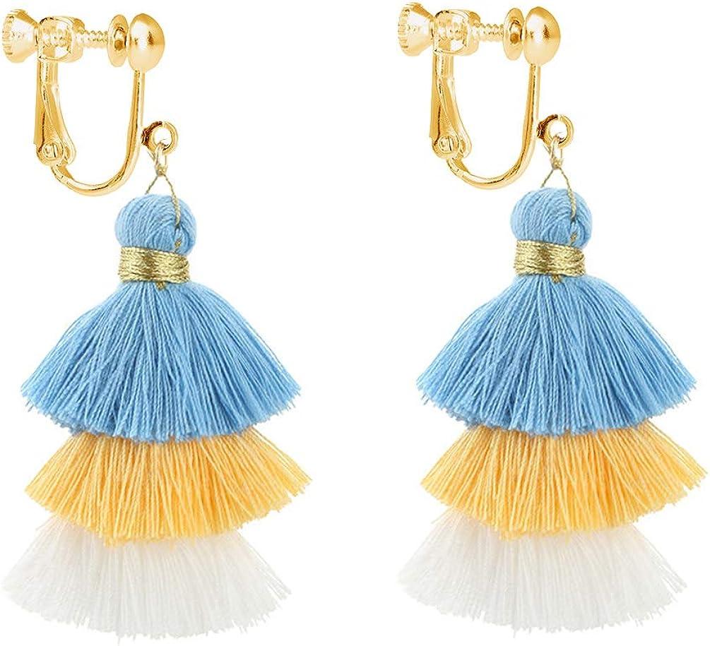 Layered Tassel Clip on Earring Splice Tiered Thread Jewelry Large Dangle Long Drop for Women