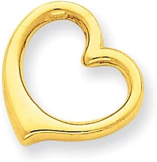 14K Yellow Gold 3-D Floating Heart Charm Slide Pendant