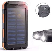 Waterproof 30000mAh Portable Solar Charger Dual USB Battery Power Bank F Phone#Orange