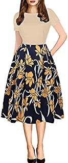 TINGZI Women's Elegant Vintage Mosaic Flower Print Cocktail Party Party Evening Dress Fashion High Waist A-Line Dress Summ...