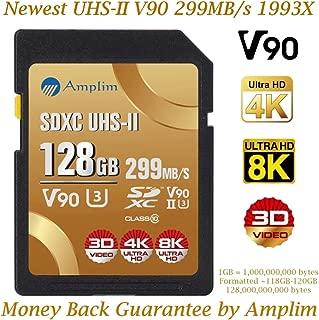 128GB V90 UHS-II SDXC SD Card - Amplim Blazing Fast 299MB/S (1993X) UHSII U3 C10 Extreme Speed 128 GB / 128G SD XC Memory Card. Professional 4K 8K Video Camera TF Flash Storage Card – New 2019