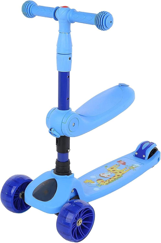 BUSUANZI Scooter 3-en-1, niños Patadas Scooters con Soporte para Sentarse Modo Dual Deslizante para niños 2-6-8, Boys & Girls 3 Scooter Plegable con Ruedas con Asiento Plegable (Azul)