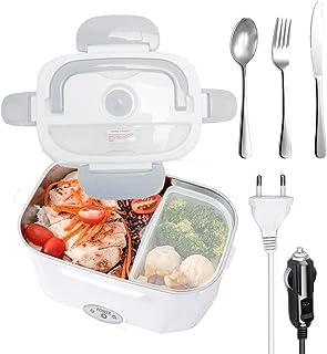 Nifogo Boîte à Lunch chauffante,Boîte à Repas 40w avec Cuillère et Deux Compartiments,Lunch Box Chauffante Électrique 2 en...