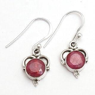 Orecchini pendenti piccoli in argento sterling con pietre preziose rubino per donne e ragazze, orecchini con castone per o...