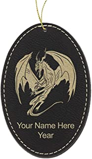 LaserGram Faux Leather Christmas Ornament, Dragon, Personalized Engraving Included (Black Oval)