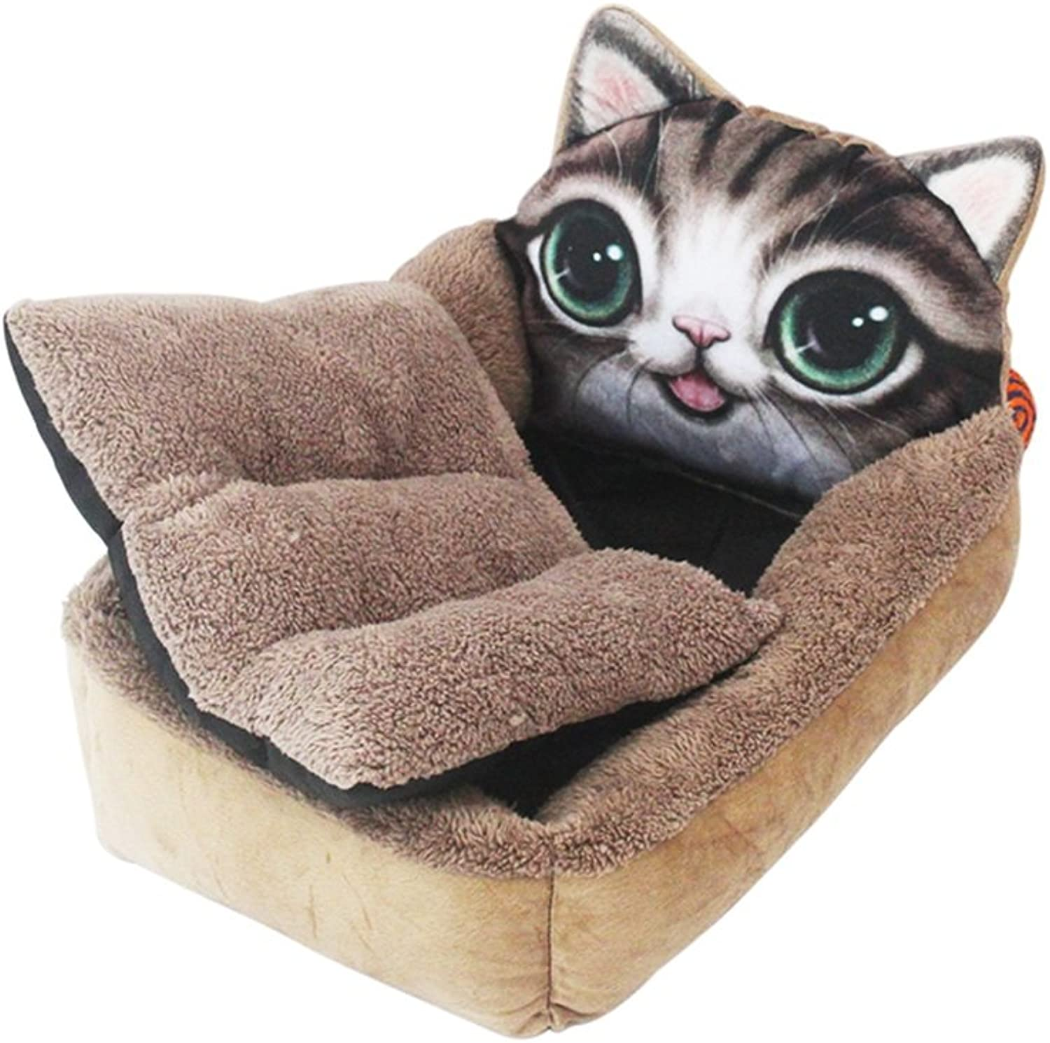 YQQ Cat Nest Doghouse MediaSized Kennels Rimozible and Wasable Warrior Cat Supply Cat Mat Deep Sleep Nest Pet Nest (Colore: Cat, Dimensione: L)