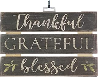 Imprints Plus Thankful Grateful Blessed Inspirational Reclaimed Wood Sign, 12