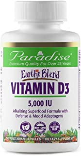 Paradise Herbs - Earth's Blend Vitamin D3 - Superfoods Base of Probiotics and Alkalizing Greens - 5,000 IU's D3-90 Vegetar...
