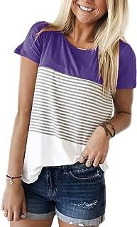 Round Neck Triple Color Block Stripe T-Shirt