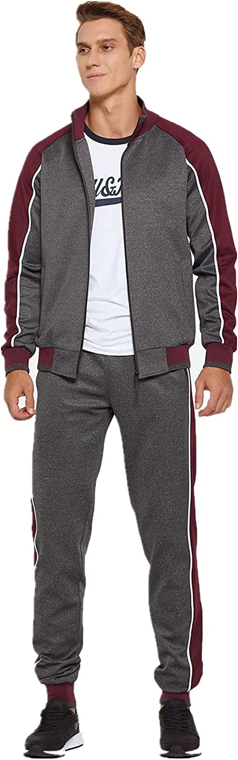 Burband Mens Joggers Set 2 Piece Tracksuits Casual Long Sleeve Sports Sweatsuits and Running Sweatpants Active Sportswears