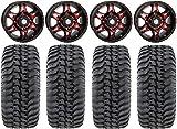 Bundle - 9 Items: STI HD7 14' Wheels Red/Black 30' Regulator Tires [4x156 Bolt Pattern 12mmx1.25 Lug kit]