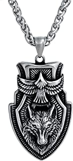 LangHong Stainless Steel Necklace Norse Viking Wolf Head Necklace For Men Talisman Jewelry