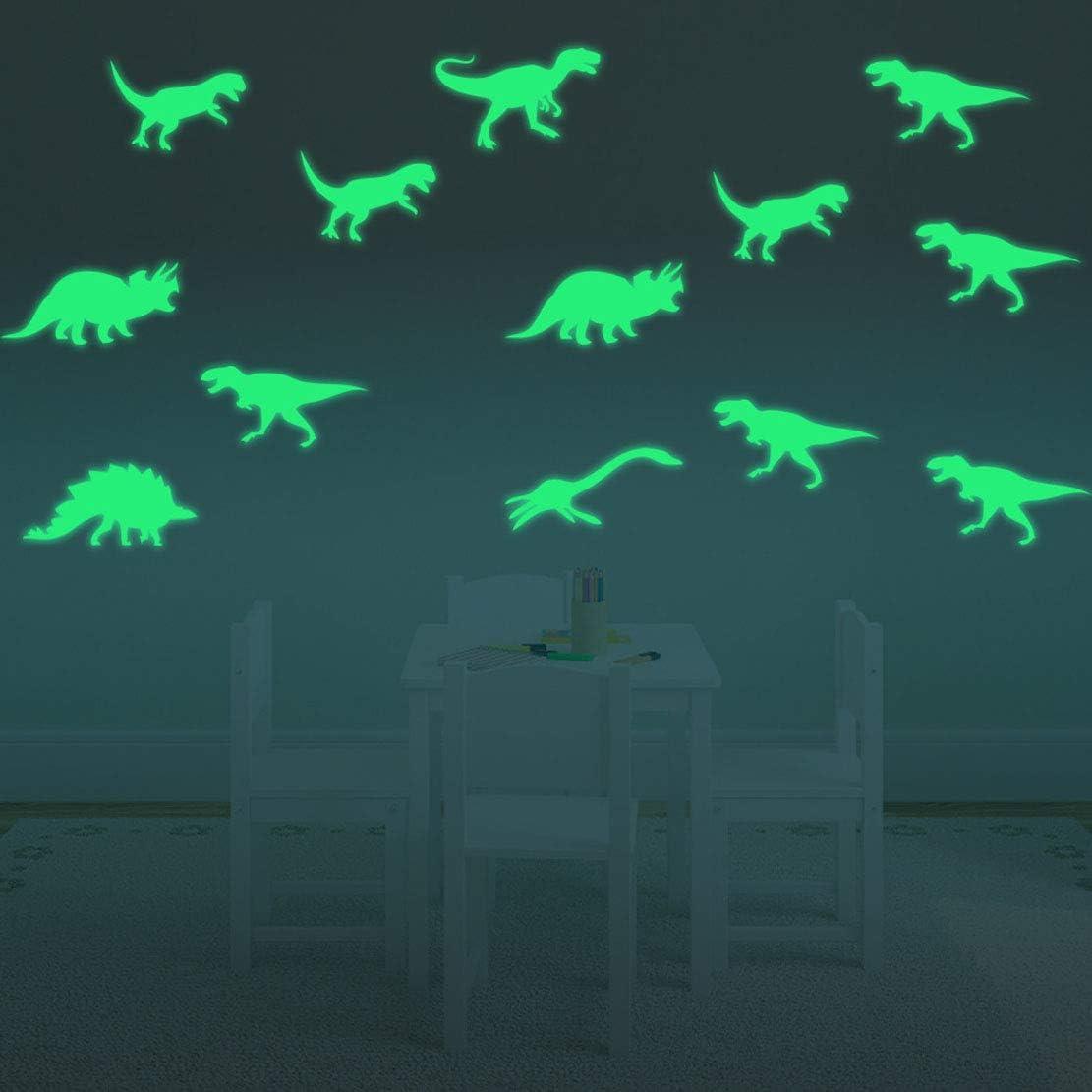 BOBOVIIA 9 Pcs Max 85% OFF 3D Glow in Dark Dinosaurs Cash special price Luminous Wall Stick The