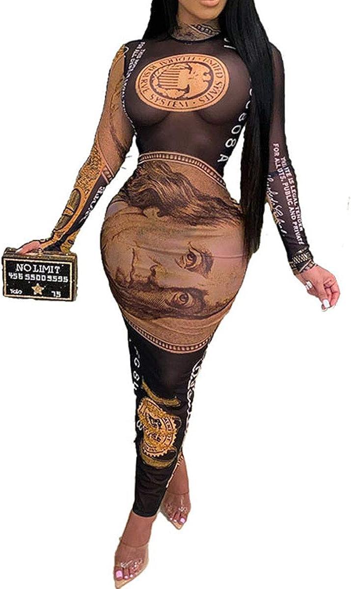 kaimimei Women's Sexy See Through Dress Money Printed Mesh Long Sleeve Zip Bodycon Party Clubwear Maxi Dresses