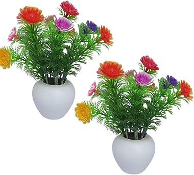 Set of 2 -Cute Small Artificial Multicolour Flower |02 Plastic Multicolour Flowers with Pot for Home Office Decor-15 cm (6&#3