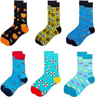 6 pares de calcetines coloridos para hombre, elegantes estampados, calcetines de algodón, calcetines para fiesta de hombres y mujeres
