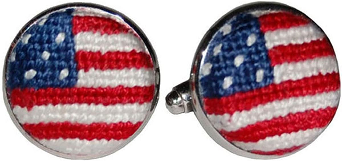 Smathers and Branson American Flag Old Glory Needlepoint Cufflinks