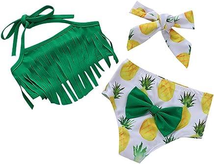 Cuekondy Kids Baby Girls 2019 Summer Fish Scale Print Bowknot One Piece Swimsuit Swimwear Bathing Suit+Headband Set