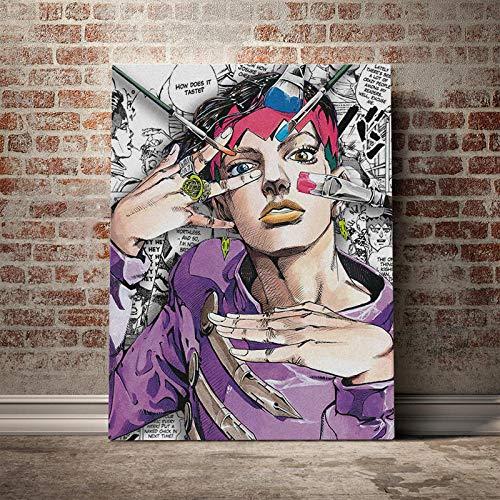 家の装飾ジョジョS奇妙なポスター壁アート岸辺露伴キャンバスプリント日本アニメ絵画画像用リビングルームモジュラー/ 50×70センチメートル-フレームなし