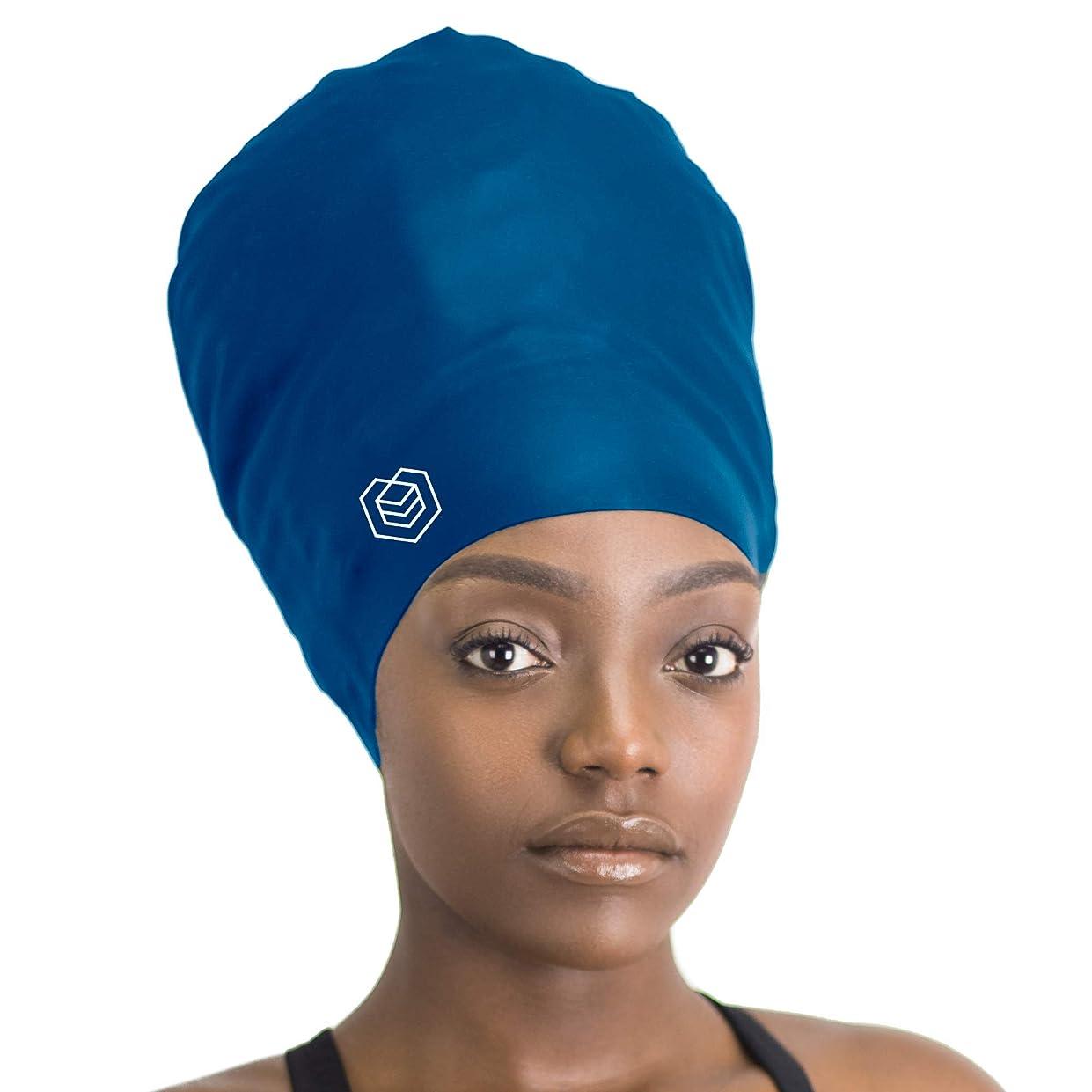 霧深いバーチャルメディカルSOUL CAP XXL - エクストララージ スイミングキャップ/シャワーキャップ   ロングヘア、ドレッドロック、ウィーブ、ヘアエクステンション、編組、カール、アフロ用に設計   女性と男性   シリコン