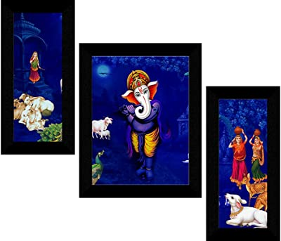 SAF Set of 3 Ganesha modern art UV Textured Wall painting for Home Decoration Gift Item 13.5 inch X 22.5 inch SANFS31589